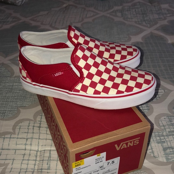 ab712622d8 Vans Asher Slip in Checkerboard in Tango Red. M 5c421a218ad2f9c0f3d75897